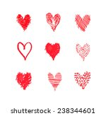 set of red hearts vector | Shutterstock .eps vector #238344601