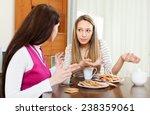 two  women over tea table in... | Shutterstock . vector #238359061
