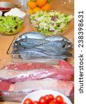 raw fish and meat on a table ... | Shutterstock . vector #238398631