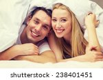 Stock photo hotel travel relationships and happiness concept happy couple in bed 238401451