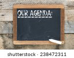 Small photo of Our agenda sign. Our agenda sign on chalkboard