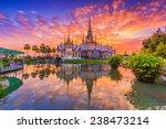 Landmark Wat Thai  Sunset In...