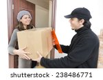 courier delivering a package to ... | Shutterstock . vector #238486771