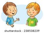 two cartoon boys talking | Shutterstock .eps vector #238538239
