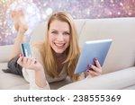 blonde shopping online against
