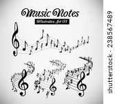 wavy music staves. vector set...   Shutterstock .eps vector #238567489