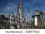 Detailed view of a petrochemical refinery. - stock photo
