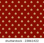 Red with gold crowns renaissance background - stock photo