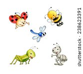 Set Of Five Cute Insects