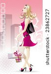 beautiful blonde dress fuchsia... | Shutterstock .eps vector #23862727