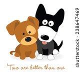 Stock vector best friends two puppies 238647469