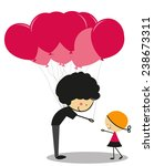 doodle little girl and balloons ... | Shutterstock .eps vector #238673311