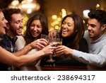 Stock photo group of friends enjoying evening drinks in bar 238694317