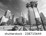 Los Angeles, California, USA downtown cityscape black and white  - stock photo