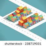 residential and small city in a ... | Shutterstock .eps vector #238719031