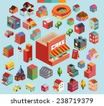 colorful vector isometric city... | Shutterstock .eps vector #238719379