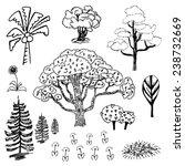 tree sketch outline vector set