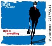 fashion girl in sketch style.... | Shutterstock .eps vector #238793161