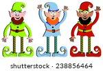 christmas elves in green  red ... | Shutterstock .eps vector #238856464