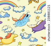 flying unicorns and rainbow in... | Shutterstock .eps vector #238881121