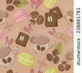 hand drawn coffee seamless... | Shutterstock .eps vector #238881781