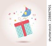 birthday card with cute bird | Shutterstock .eps vector #238887901