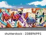A Graffiti Wall With Blue Sky...
