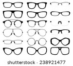 set of vector glasses on white background