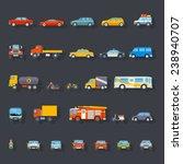 Stylish Retro Car Line Icons Set Isolated Transport Symbols Vector Illustration