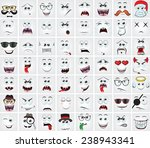 set of cartoon faces with... | Shutterstock .eps vector #238943341