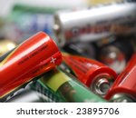 Closeup of pile of used alkaline batteries - stock photo