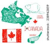 canada. hand drawn symbols of... | Shutterstock .eps vector #238962859