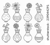 Coloring Book  Vases With...