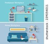 home workplace flat vector...   Shutterstock .eps vector #239054011