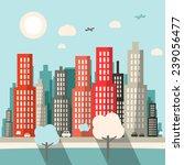 flat design city vector... | Shutterstock .eps vector #239056477