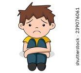 Sad Boy  Vector Illustration ...