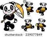cute panda playing sports | Shutterstock .eps vector #239077849