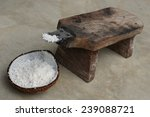 Half Of Coconut Shell With...