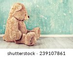 Teddy Bear Toy Alone On Wood I...