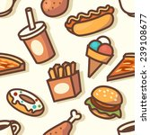 seamless pattern with fast food ... | Shutterstock .eps vector #239108677