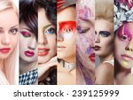 beauty collage. faces of women... | Shutterstock . vector #239125999