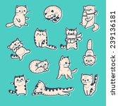 vector set   funny cartoon... | Shutterstock .eps vector #239136181