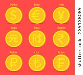 world currency icons  dollar ... | Shutterstock .eps vector #239138089