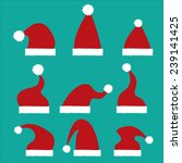 red santa hat flat icon. vector ... | Shutterstock .eps vector #239141425