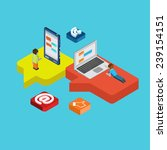 chat message social media flat... | Shutterstock .eps vector #239154151