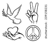 peace symbols. two thumbs up.... | Shutterstock .eps vector #239158231