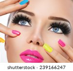 beauty girl portrait with vivid ... | Shutterstock . vector #239166247
