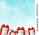 christmas gift boxes on winter... | Shutterstock .eps vector #239207521