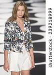 Small photo of New York, NY - September 5, 2014: Oda Nordengen walks the runway at Nicole Miller show during Mercedes-Benz Fashion Week Spring 2015 at The Salon at Lincoln Center