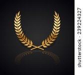 gold laurel wreath with  shadow ... | Shutterstock .eps vector #239224327